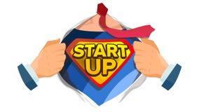 Vettore Startup del segno Camicia aperta del supereroe con il distintivo dello schermo L'affare inizia sul segno Fumetto piano is illustrazione di stock