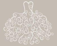 Vettore stilizzato disegnato a mano del vestito da sposa da turbinio Immagini Stock Libere da Diritti