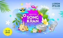 Vettore stupefacente felice della Tailandia di festival di Songkran sull'insegna blu illustrazione vettoriale