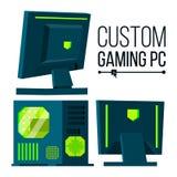 Vettore su ordinazione del PC di gioco Personal computer su ordinazione moderno di configurazione Bella progettazione liquida del royalty illustrazione gratis