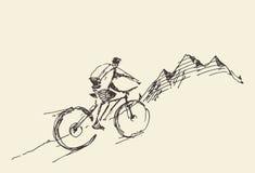 Vettore superiore diritto della collina della bicicletta del cavaliere di schizzo Immagine Stock