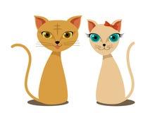 Vettore sveglio del fumetto dei gatti Immagine Stock