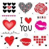 Vettore sveglio del fumetto dell'innamorato del biglietto di S. Valentino ti amo Fotografie Stock Libere da Diritti