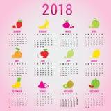 Vettore sveglio del fumetto della frutta del nuovo anno 2018 del calendario del pianificatore Fotografia Stock