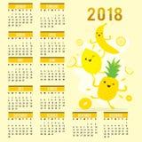Vettore sveglio del limone dell'ananas della banana del fumetto della frutta del calendario 2018 del pianificatore Fotografia Stock