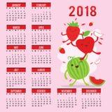 Vettore sveglio del melone di Apple della fragola del fumetto della frutta del calendario 2015 del pianificatore Fotografie Stock Libere da Diritti