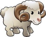 Vettore sveglio dell'animale da allevamento delle pecore della ram Immagini Stock Libere da Diritti