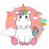 vettore sveglio dell'unicorno su fondo bianco immagini stock libere da diritti