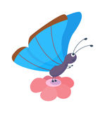 Vettore sveglio della farfalla isolato su bianco Immagini Stock Libere da Diritti