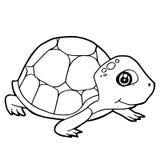Vettore sveglio della pagina di coloritura della tartaruga del fumetto Fotografie Stock Libere da Diritti