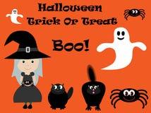 Vettore sveglio di Halloween della strega, del ragno, dei gatti & dei fantasmi Fotografie Stock Libere da Diritti