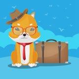 Vettore sveglio di viaggio del cane di Shiba Inu illustrazione vettoriale
