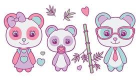 Vettore sveglio fissato con la famiglia colorata pastello dell'orso di panda gigante con la madre, padre e bambino, cuori e fogli illustrazione vettoriale