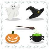 Vettore sveglio fissato con le illustrazioni di Halloween Vettore Illustratio royalty illustrazione gratis