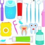 Vettore sveglio: Icone del dentista di cura dentale (dente) Immagine Stock