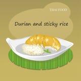 Vettore tailandese del dessert del riso appiccicoso e del Durian Immagine Stock Libera da Diritti