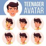 Vettore teenager asiatico dell'insieme dell'avatar del ragazzo Affronti le emozioni impressionabile Casuale, amico Illustrazione  illustrazione di stock