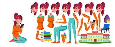 Vettore teenager della ragazza Insieme della creazione di animazione Emozioni del fronte, gesti Caucasian, positivo animato Per l illustrazione di stock