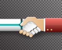 Vettore trasparente di progettazione del fondo di simbolo di associazione di Handshake Innovation Technology dell'uomo d'affari d illustrazione di stock