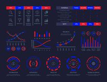Vettore trattato del hud del cruscotto del grafico del collegamento di analisi dell'illustrazione di dati di strategia aziendale  illustrazione di stock
