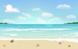 Vettore tropicale del fondo di estate della spiaggia della sabbia di mare illustrazione vettoriale