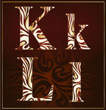 Vettore, un alfabeto del lusso (K, L) Fotografie Stock Libere da Diritti