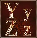 Vettore, un alfabeto del lusso (Y, Z) Fotografie Stock Libere da Diritti