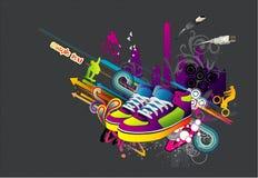 Vettore urbano dei pattini delle scarpe da tennis Immagine Stock Libera da Diritti