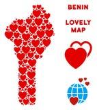 Vettore Valentine Benin Map Mosaic dei cuori Immagine Stock