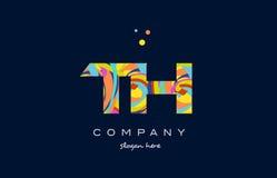vettore variopinto del modello dell'icona di logo della lettera di alfabeto del Th t h Fotografie Stock Libere da Diritti