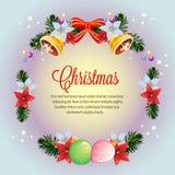 Vettore variopinto della carta della stella di Natale di natale della corona del cerchio illustrazione di stock