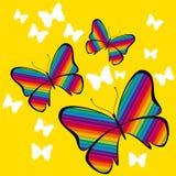 Vettore variopinto della farfalla su fondo giallo Fotografia Stock Libera da Diritti