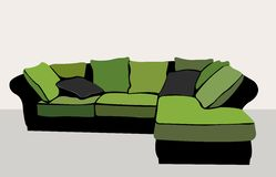 Vettore verde del sofà Fotografie Stock Libere da Diritti