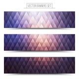Vettore Violet Web Banners Set Immagini Stock