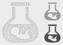 Vettore in vitro Mesh Network Model dell'embrione ed icona del mosaico del triangolo royalty illustrazione gratis