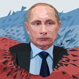 Vettore Vladimir Putin, presidente dell'illustrazione poligonale del ritratto della Russia su fondo bianco illustrazione vettoriale