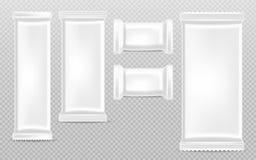 Vettore vuoto della raccolta dei modelli delle barre di cioccolato realistico Contenitore d'imballaggio del prodotto isolato 3d d illustrazione vettoriale