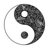 Vettore Yin Yang Symbol decorata Immagini Stock Libere da Diritti