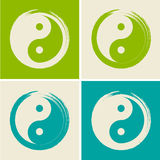 Vettore Yin Yang in Zen Circle Set Illustration Immagine Stock