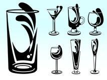 Vettori di vetro dell'alcool Fotografia Stock Libera da Diritti