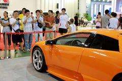 Vettura da corsa nell'esposizione di automobile Fotografia Stock
