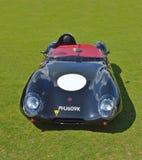 Vettura da corsa nera classica di Lotus nel raduno d'annata dell'automobile Fotografia Stock