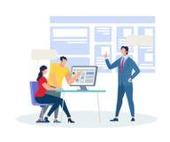 Vettura Explaining Information di affari in aula illustrazione vettoriale