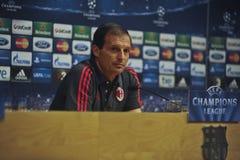 A.C. Vettura Massimiliano Allegri di Milano alla conferenza stampa a Barcellona Immagine Stock