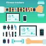Vettura virtuale Gadgets degli inseguitori di forma fisica Fotografia Stock