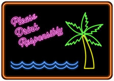 Veuillez boire de façon responsable le signe au néon Images stock