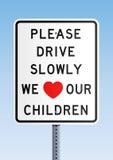 Veuillez nous piloter lentement aiment nos enfants illustration de vecteur
