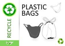 Veuillez réutiliser les sachets en plastique illustration de vecteur