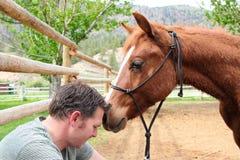 Veulen en eigenaar van een ranch stock foto's