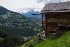 Village in the Swiss Alps in Valais. Veurey,nendaz in valais,swiss royalty free stock photo
